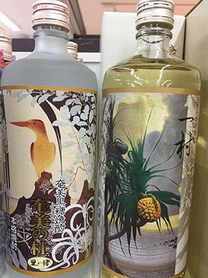(田中一村の絵画がラベルに使用されている黒糖焼酎)