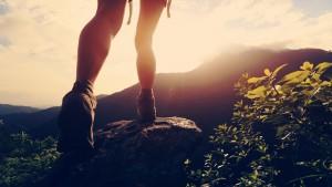 Young,Hiker,Legs,Hiking,On,Mountain,Peak